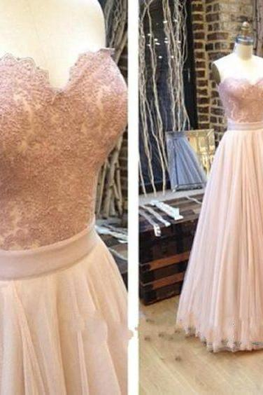 Blush Pink Sweetheart Neck A-Line Lace and Tulle Floor Length Prom Dress, Bridesmaid Dress
