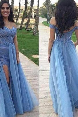 Blue prom dress,long prom dress,off shoulder prom dress,charming prom dress,2017 prom dress