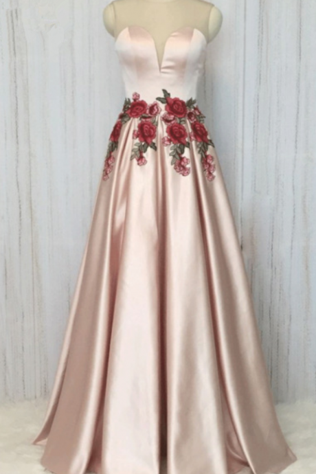 Embroidery Lace Prom Dresses Long Pink Elegant Prom Gown Girl Dresses