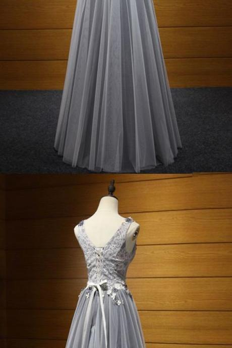 Fashion Grey Prom Dress 3D Flowers Tulle Elegant Evening Dress