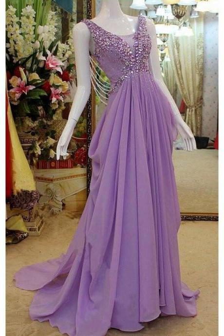Chiffon prom dress,long prom Dress,cheap Prom Dress,beaded prom dress,elegant prom dress