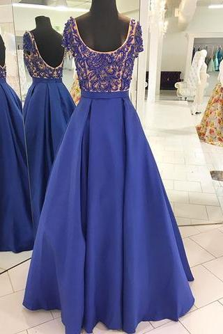 Blue round neck beads long prom dress, blue evening dress