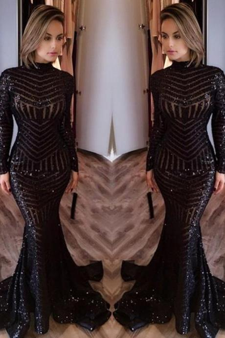 Sequined Mermaid Black Long Evenoing Dresses Sleeves High Neck Sexy Prom Dress