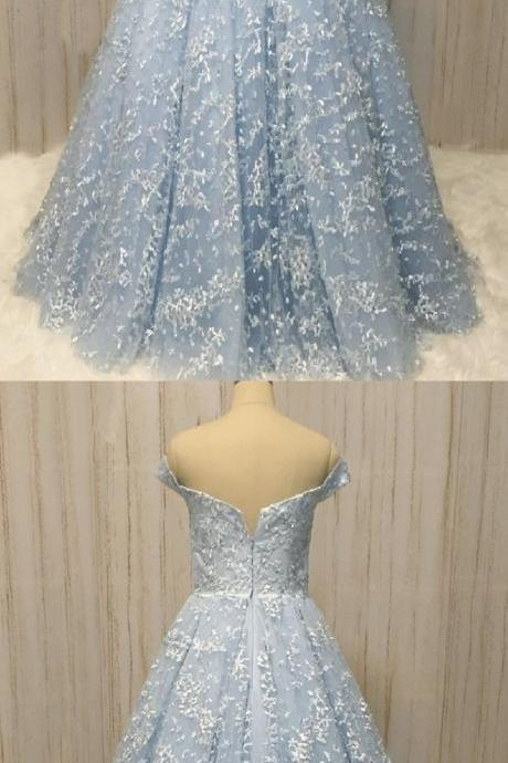 Unique blue lace off shoulder long A-line sweet prom dress, long lace evening dress