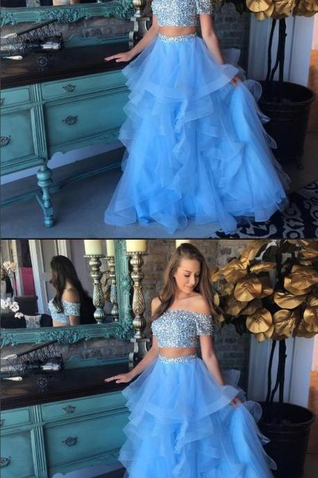 Light blue tulle two pieces long prom dress, tulle formal dress