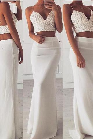 Stylish white two pieces long prom dress, white mermaid evening dress