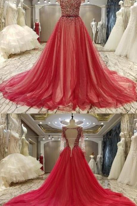 Long Sleeves Beaded Evening Dresses Party Elegant Gowns Red Tulle Ball Gown Women Fashion A Line Floor Length Ball Dress