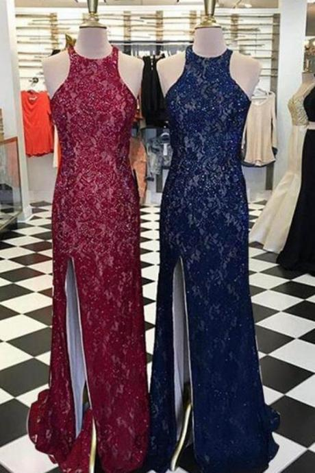 Lace slit round neck long dresses,long homecoming dresses