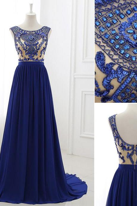 Royal Blue A-Line Prom Dress,Long Prom Dresses,Prom Dresses,Evening Dress, Evening Dresses,Prom Gowns, Formal Women Dress