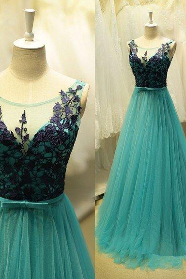 Appliques Tulle Prom Dress,Long Prom Dresses,Charming Prom Dresses,Evening Dress Prom Gowns, Formal Women Dress