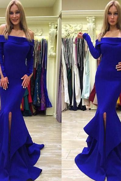 Royal Blue Long Sleeve Prom Dress,Long Prom Dresses,Charming Prom Dresses,Evening Dress, Prom Gowns, Formal Women Dress