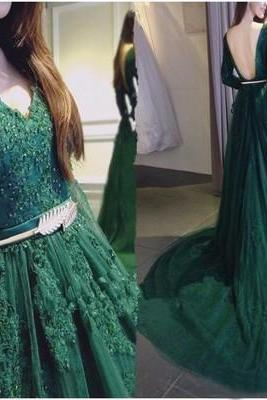 Long prom dress, green prom dress, v neck prom dress, long sleeves prom dress, open back prom dress, lace prom dress, evening dress