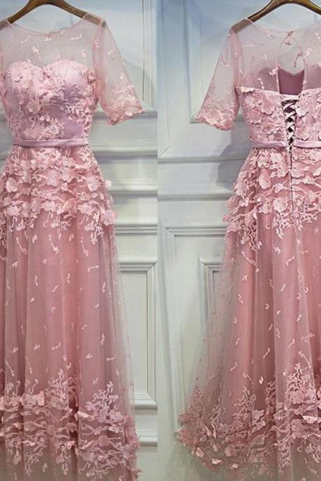 Half Sleeves Tulle Applique Lace Up Back Cheap Long Prom Dresses