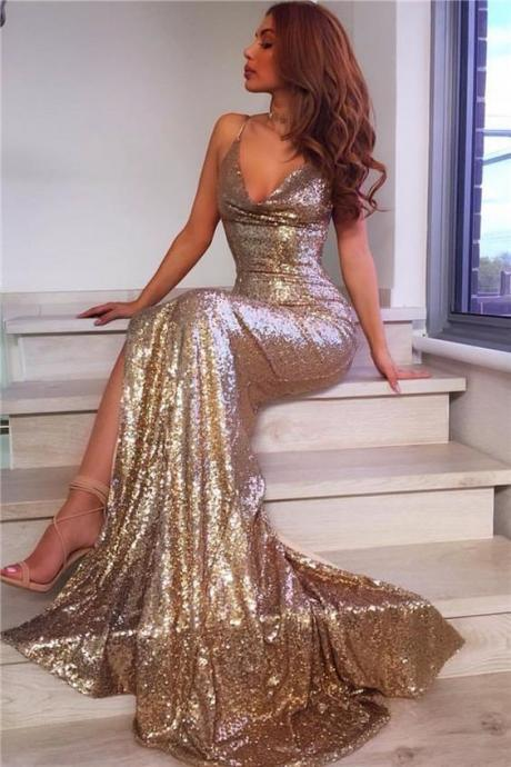 Trumpet Prom Dresses, Fashion Sexy V-Neck Split Side Long Mermaid Evening Dresses