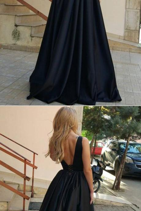 Sexy Deep V Neck Long Satin Ball Gowns Prom Dresses 2018
