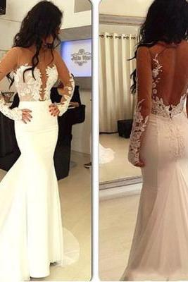 Hot selling prom dress, sexy prom dress, white prom dress, long sleeve prom dress, open back prom dress, long prom dress, cheap wedding dress
