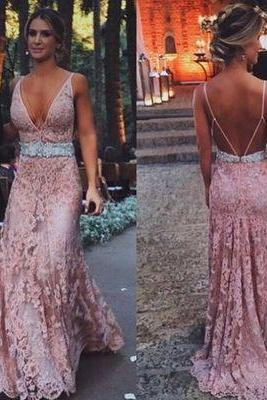 Dusty pink prom dress, long prom dress, sexy prom dress, v neck prom dress, open back prom dress, lace prom dresses