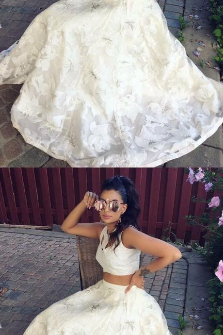 Fashion 2 pieces prom party dresses, chic key hole fashion gowns with special lace, cute white formal gowns