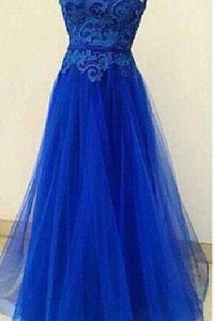 Charming Prom Dress,Appliques Prom Dress,O-Neck Prom Dress,Tulle prom Dress,A-Line Evening Dress