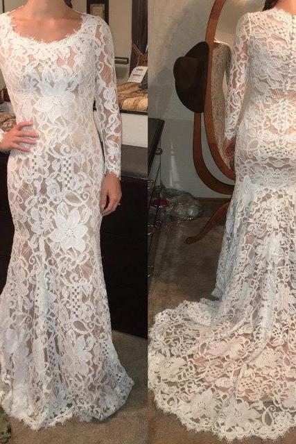 Charming Prom Dress,Lace Prom Dress,O-Neck Prom Dress,Mermaid Prom Dress,Long-Sleeves Evening Dress