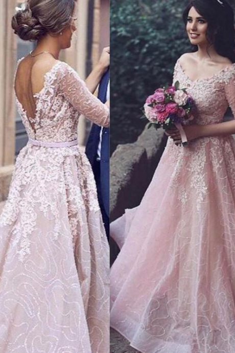 Princess pink tulle lace applique half-sleeves A-line bridesmaid dresses