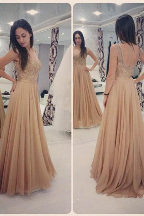 Glamorous Long Champagne Lace Prom Dresses Party Evening Gown Beaded Chiffon Appliques Open Back Prom Dresses