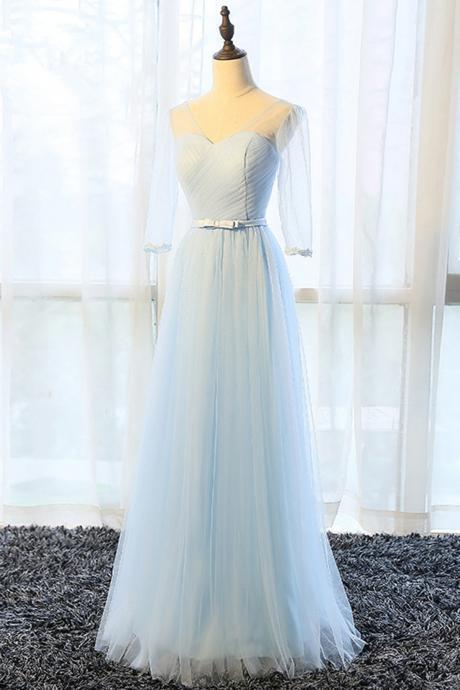 Simple pure blue V neck long bowknot senior prom dress with mid sleeves
