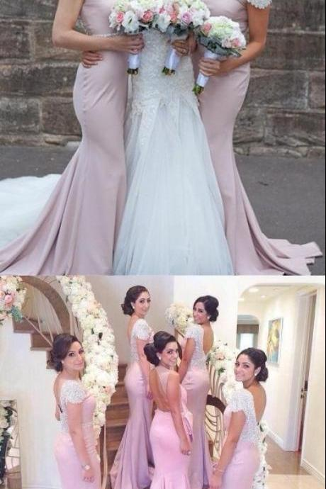 Elegant Crystal Short Sleeve Backless Sweep Train Fitted Bridesmaid Dresses