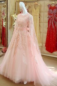 Pink Lace Long Sleeves Prom Dresses 2017