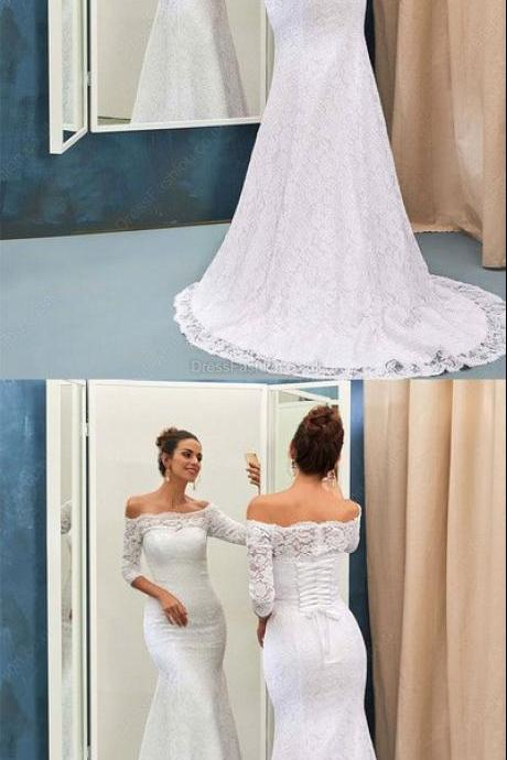 Mermaid Off-the-shoulder Lace Sweep Train 3/4 Sleeve Top Wedding Dresses