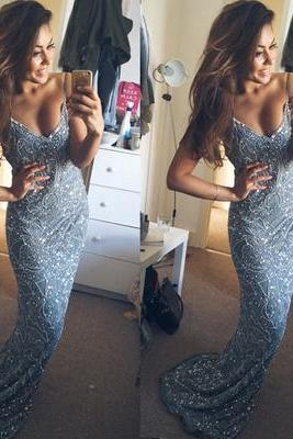 Stunning Mermaid Spaghetti Starps Beadings Appliques Long Prom Dress
