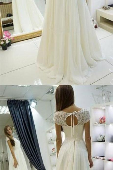 A-line Chiffon Long Beach Bateau Sweep Train Cap Sleeves Wedding Dress with Lace