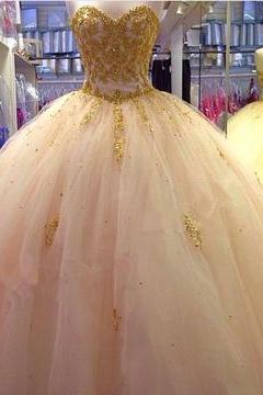 Gold Lace Embroidery Sweetheart Tulle Ball Gowns Quinceanera Dresses