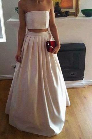 A-Line Gorgeous Two Piece Ivory Satin Long Strapless Floor-Length Prom Dresses