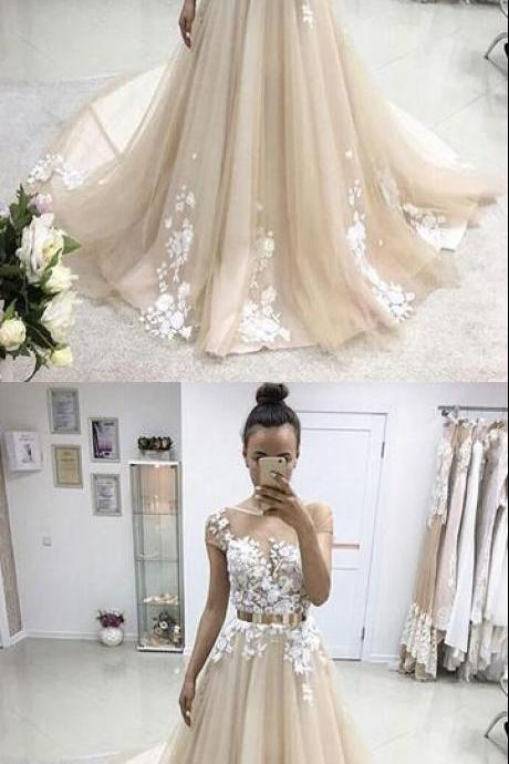 A-line prom dresses,Champagne Bateau Applique Floor Length Tulle Evening Dress Prom Dresses