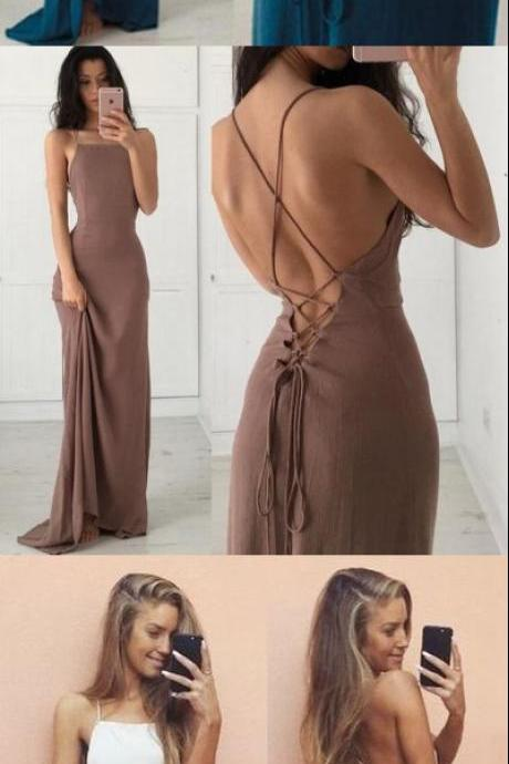 UNIQUE BACKLESS CHIFFON LONG PROM DRESS, EVENING DRESSES