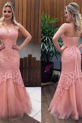 Trumpet/Mermaid prom dresses,Pink Sweetheart Applique Floor Length Tulle Evening Dress Prom Dresses