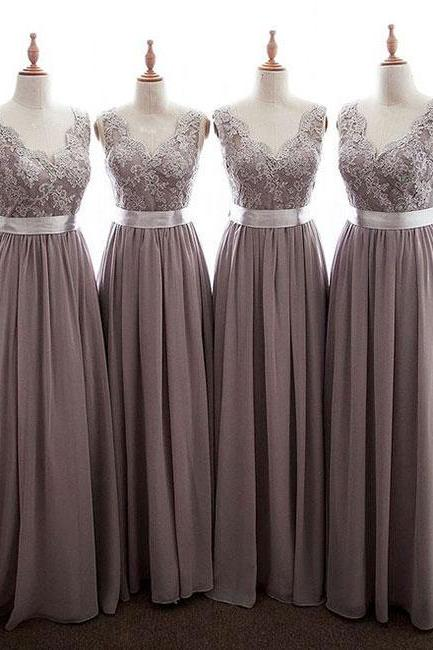 SIMPLE V NECK LACE CHIFFON LONG PROM DRESS, BRIDESMAID DRESS