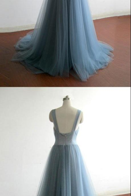 A-line prom dresses,V-neck Floor Length Tulle Evening Dress Prom Dresses