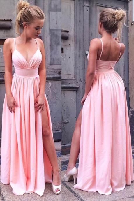 Simple Spaghetti Straps Pink V Neck Long Prom Dress with Slit
