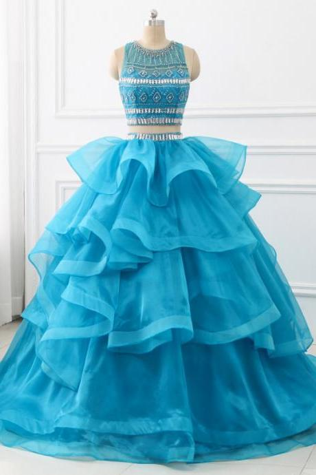 2018 Ball Gown Quinceanera Dresses Two Pieces Sweet Princess Dresses Prom Party Dress with Beaded Ruffles