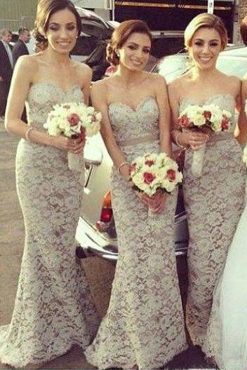 Sexy Sweetheart Mermaid Lace Long Bridesmaid Dresses Floor Length