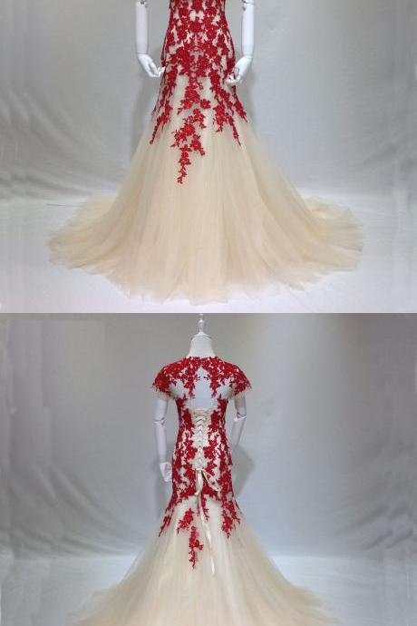 2018 Jewel Neck Red Lace Long Prom Party Dress Champagne Evening Dress Lace Up Back Sexy Mermaid Prom Dress