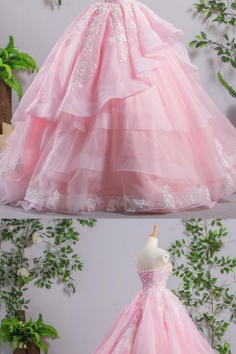 2018 Princess Pink Tulle Court Train Tulle Ball Gown