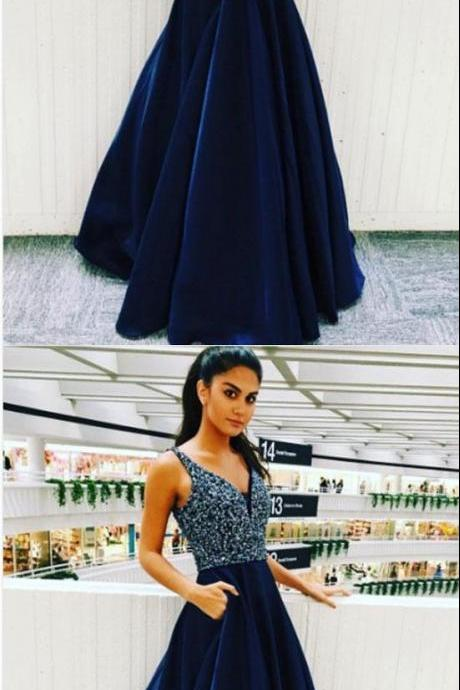 Elegant V Neck Prom Dress with Beaded, Long Homecoming Dress, Navy Blue Prom Dresses