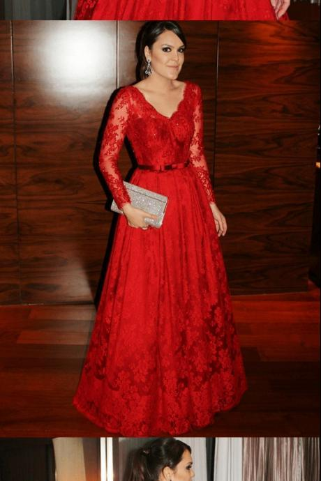 Elegant V-neck Lace Applique Red Prom Dress Belt Long Sleeves Beads Sequins 2018 Floor Length Lace Evening Dress Celebrity Gowns