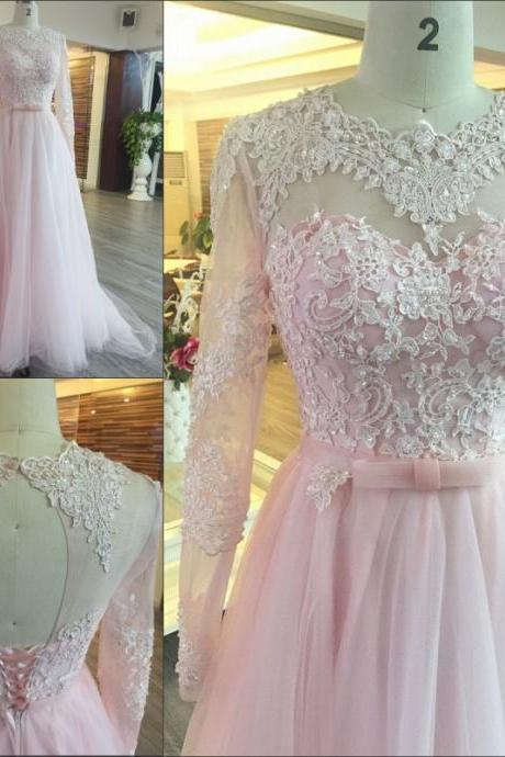 Charming Prom Dress,Elegant Prom Dress,Pink Appliques Long Sleeve Prom Dresses,Long Evening Dress,Formal Dress