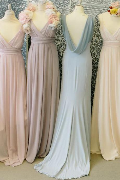 Charming Prom Dress,V Neck Chiffon Prom Dress,Long Evening Dress,Bridesmaid Dress 10119