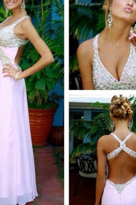 A line Junior Sexy Formal Backless Long Prom Dress 10099