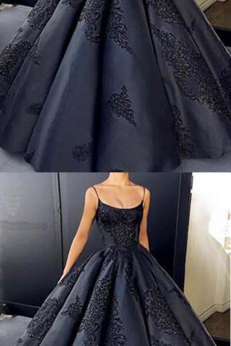 Black satin customize A-line long winter formal prom dress, long evening dress with appliques 10017